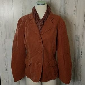 J.Jill Rust Lined Blazer Jacket 14